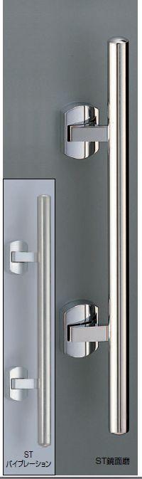 プッシュプルハンドル錠(空錠) 甲丸丸棒500 サテンゴールド色(真鍮製)