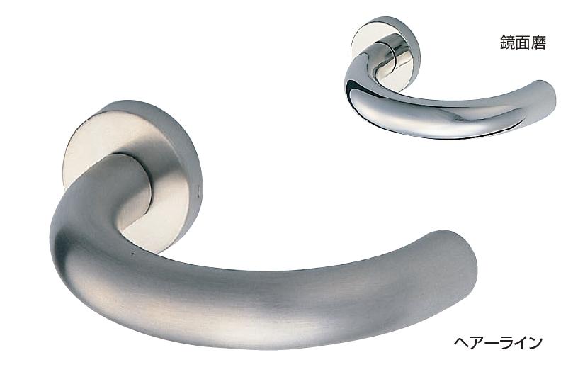 ドアのノブをレバーハンドルへ交換セット:ステンレス ドアレバー(ステンU形丸棒) チューブラ空錠付[BS50]