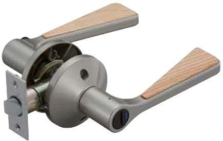 ドアのノブをレバーハンドルへ交換セット:ハイブリッド バリアフリーレバー錠 チューブラ間仕切錠付[BS50・60兼用]