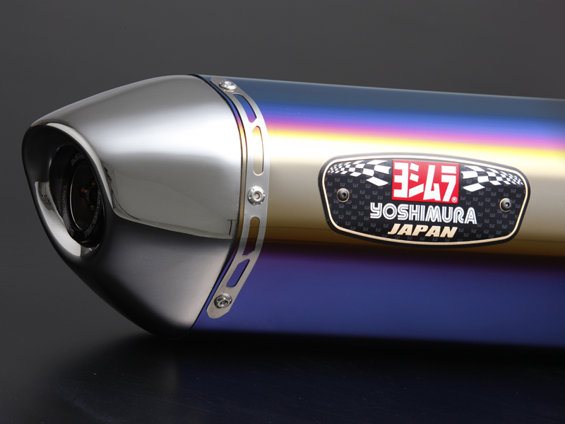 YOSHIMURA/ヨシムラ GSX-S750(17:ABS) Slip-On R-77Jサイクロン EXPORT SPEC 政府認証 チタンブルーカバー/ステンレスエンドタイプ (受注生産品) (品番 110-150-5V80B )