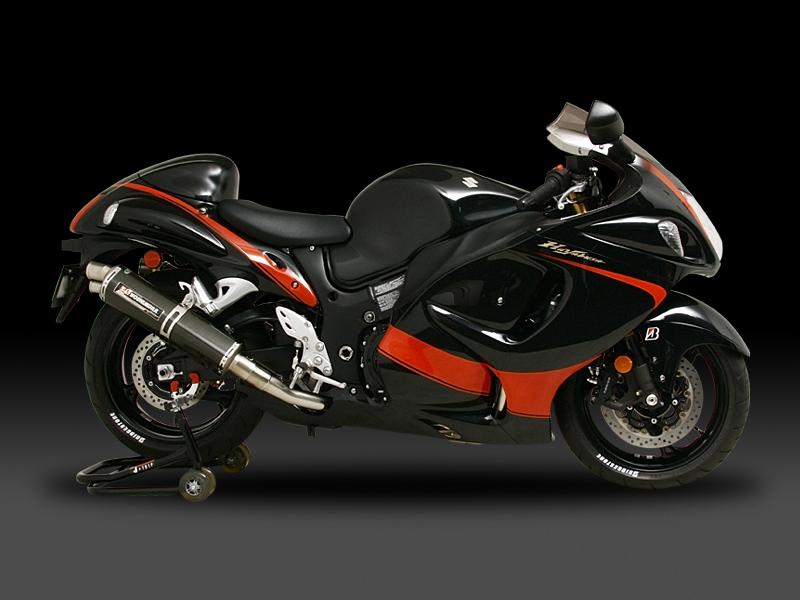 GSX1300R 隼(08- : カナダ仕様/EU仕様) ヨシムラ Tri-Ovalチタンサイクロン 2エンド チタンブルーカバー マフラー (品番 110-509-8980b )
