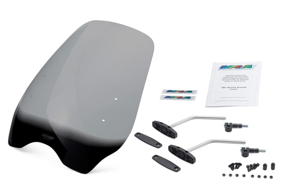 MRA/エムアールエー  スクリーンセット ハイウェイ スモーク 汎用ハンドルポストマウントキット付 (品番 SET-HKSD-MHI-S )