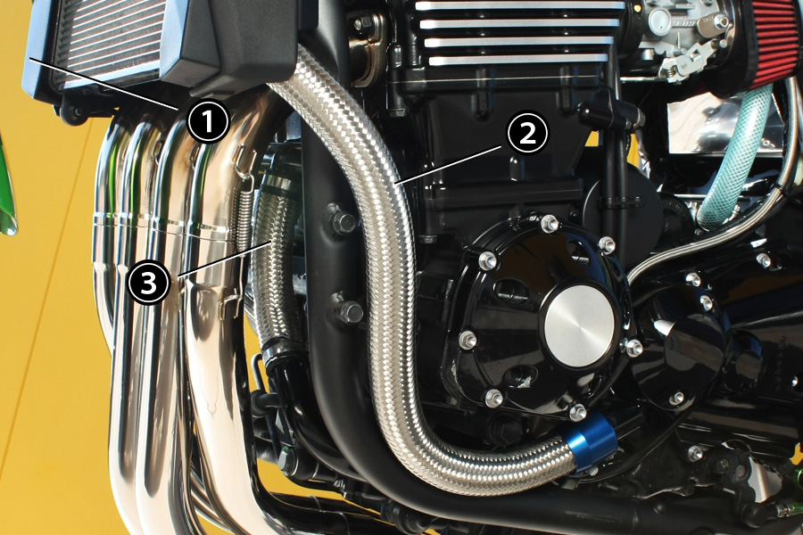 【PMC.Inc】 ラジエターホースキット 1本 ZRX1200 DAEG ラジエターOUT~ポンプIN