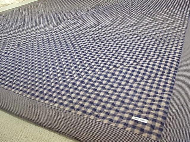 【リビング】定番カントリーチェック♪敷きマット(240×200cm)長方形/紺 アメリカンカントリー カーペット