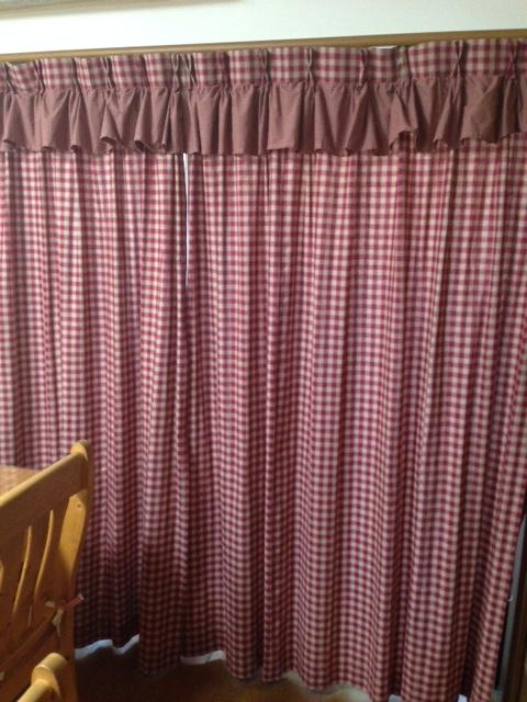定番カントリーチェック*レール用カーテン(エンジor紺)1枚サイズ W100×H178cm の2枚組*アメリカンカントリー☆一般的な掃出し窓用サイズ 上フリルタイプ♪