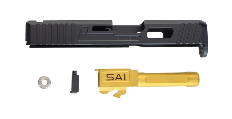 【パーツ類ポイント10倍!23日8時59分まで】Guns Modify SAIタイプ CNCアルミスライド/GOLDバレルセット 東京マルイG26対応