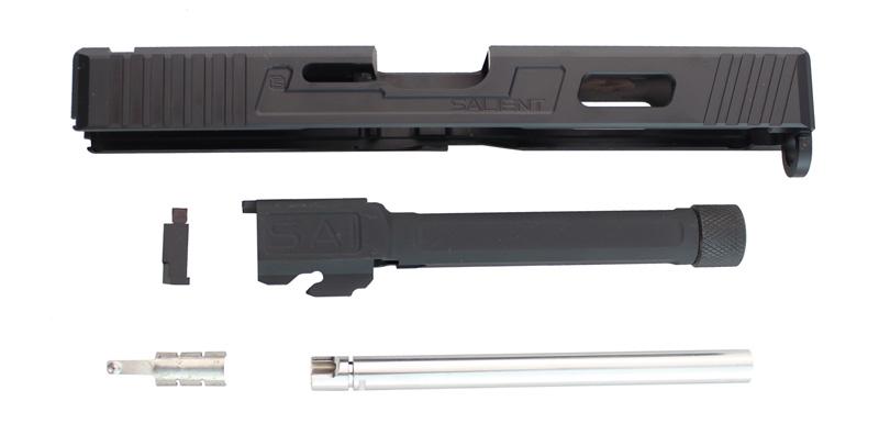 【パーツ類ポイント10倍!2月26日8時59分まで】Guns Modify SAIタイプ CNCアルミスライド/4 Fluted Nitride BKスレッドバレルセット 東京マルイG17対応