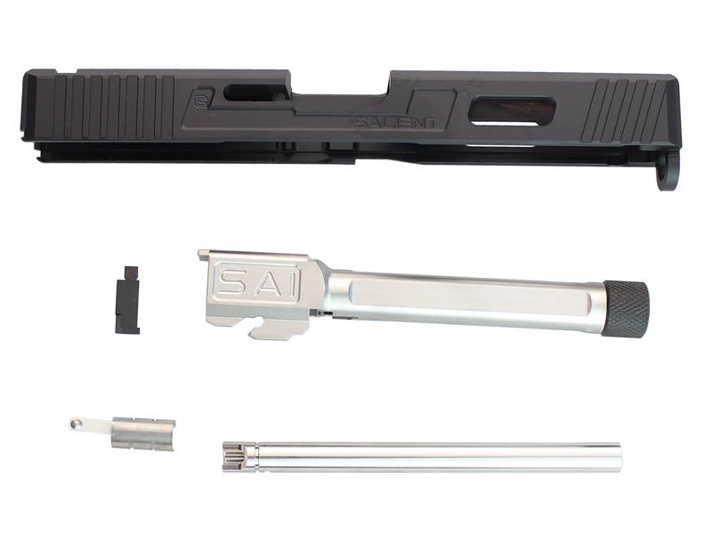【ポイント10倍!6月11日8時59分まで】Guns Modify SAIタイプ CNCアルミスライド/4 Fluted Nitride Silverスレッドバレルセット 東京マルイG17対応