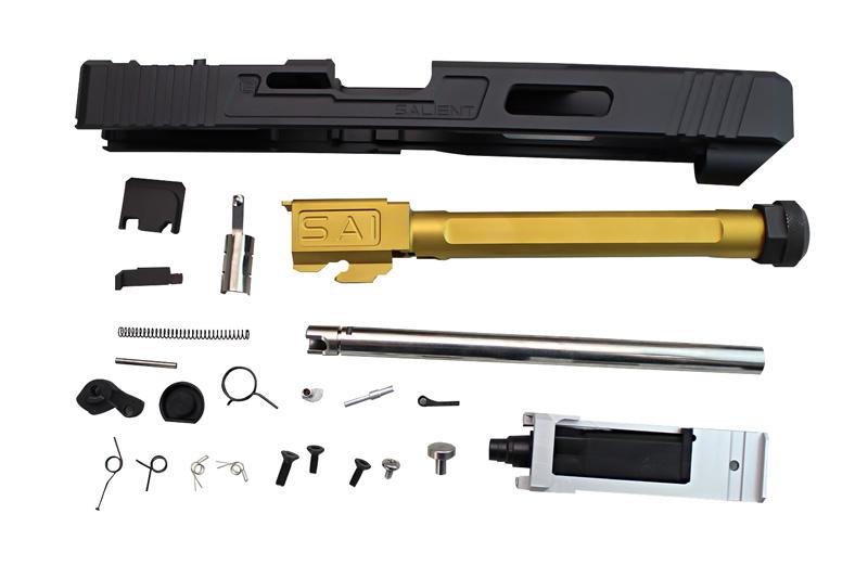 Guns Modify G34 SAIタイプ CNC RMRアルミスライド/Nitride GOLD 4-flutedスレッドバレルセット (東京マルイG17対応)