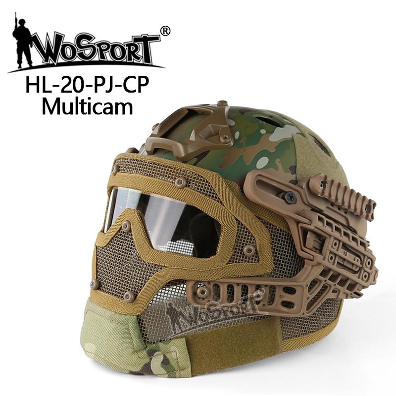 WoSporT タクティカルヘルメット メッシュマスク付 MC