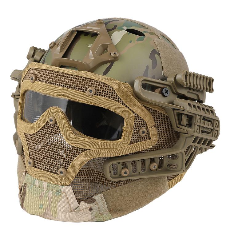 【ポイント10倍!6月11日8時59分まで】WoSporT タクティカルヘルメット メッシュマスク付 MC