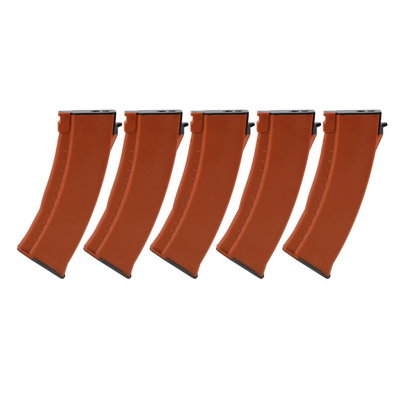 【ポイント10倍!12月24日8時59分まで】E&L AK74タイプ 樹脂マガジン Orange 120連 5pcs/box