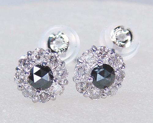ダイヤピアスK18WGブラックダイヤをクリアーダイヤが取り巻くボリュームアイテム!【送料無料】【4月誕生石ダイヤ】【レディース,激安,特価,通販】