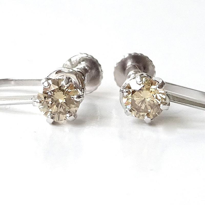 K14WG天然ダイヤモンドイヤリング・0.40カラットブラウン系ダイヤ【送料無料】【4月誕生石ダイヤ】【レディース,激安,特価,通販】