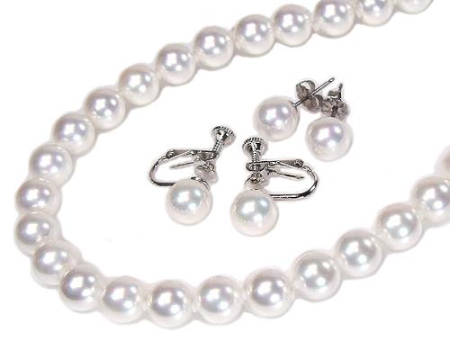 花珠真珠に匹敵!花珠貝パールネックレスピアス(イヤリング)セット8.0mm【6月誕生石真珠】【レディース,激安,特価,通販】