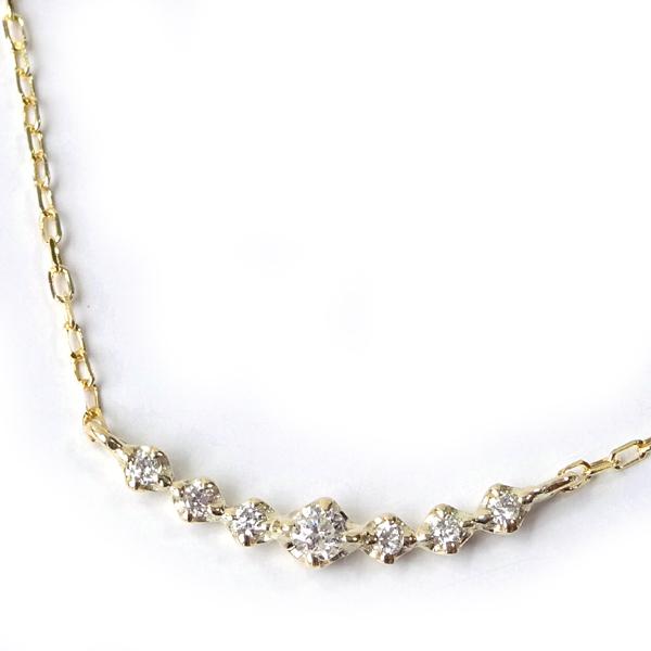 デコルテを彩るゴールドの洗練された輝き 天然ダイヤモンド横グラデーションネックレス3060 送料無料 国内送料無料 4月誕生石ダイヤ 特価 レディース 激安 通販 発売モデル