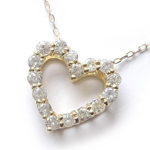 18金 オープンハート ダイヤモンドネックレス 0.5カラット【ギフトラッピング済み】【送料無料】【4月誕生石ダイヤ】【レディース,激安,特価,通販】