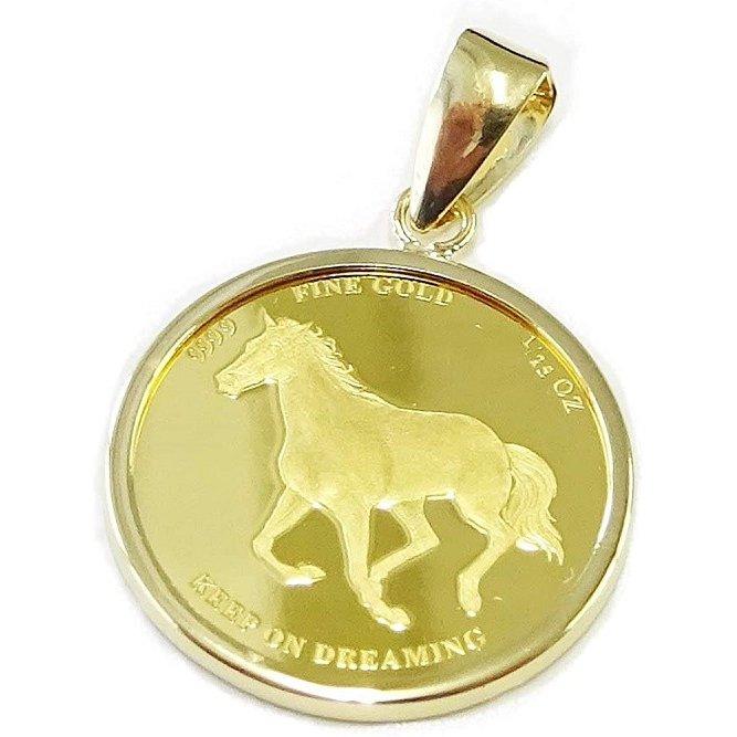 馬をモチーフにデザインで男性に人気 純金 コインジュエリー ペンダントトップ ホース馬 ホースシュー馬蹄1 贈呈 25oz 送料無料 レディース PAMP 全国一律送料無料 激安 通販 SUISSE社製 特価