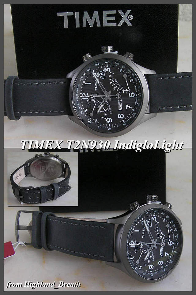 -Timex mens Flyback chronograph T2N930 leather belt