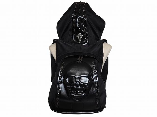 【B-0014】スカル(髑髏)ブラックフード付きリックサック/メンズ/レディース【あす楽】
