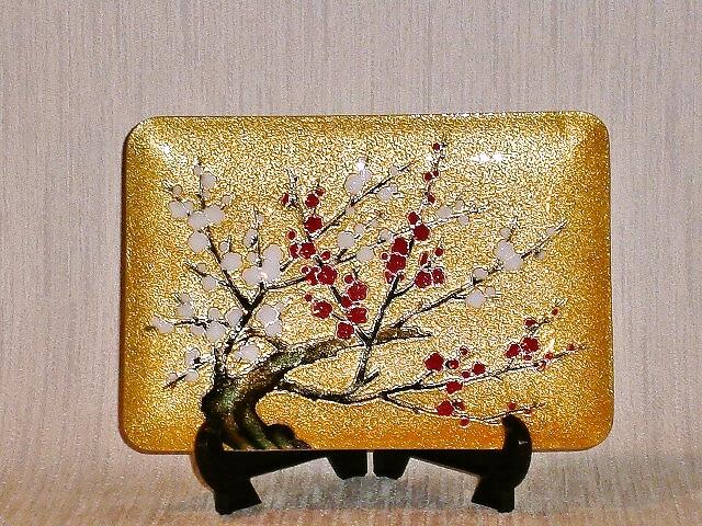 七宝焼 飾皿 紅白梅