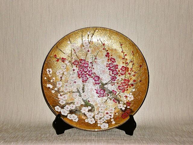 七宝焼 飾皿 13丸金地梅