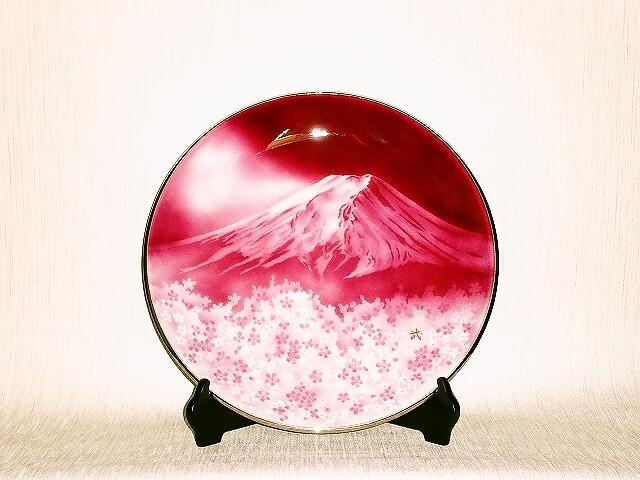 七宝焼 飾皿 13丸赤富士桜