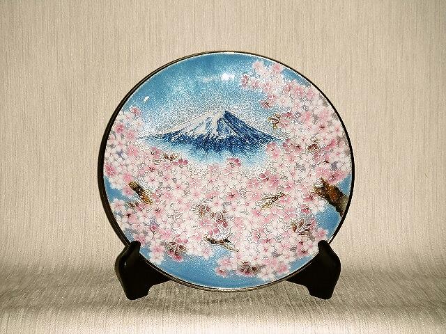 七宝焼 飾皿 10丸富士桜