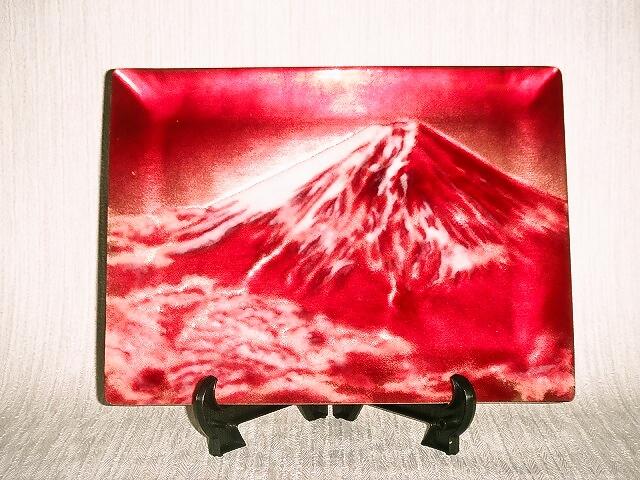 七宝焼 飾皿 6×8赤富士