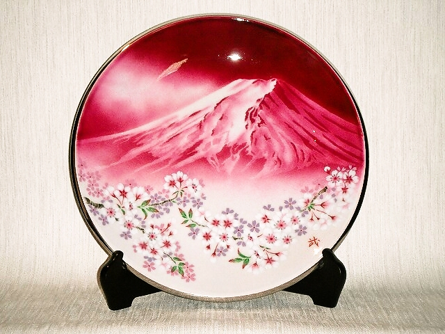 七宝焼 飾皿 12丸赤富士桜