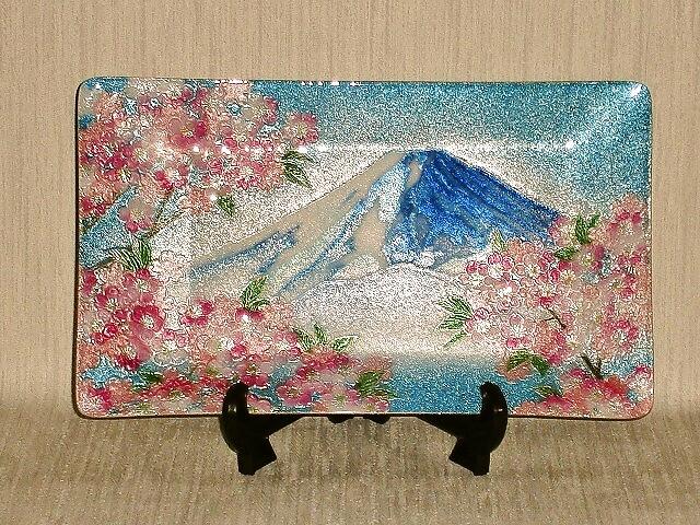 七宝焼 飾皿 10×6富士桜