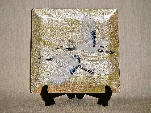 七宝焼 飾皿 8×8双鶴