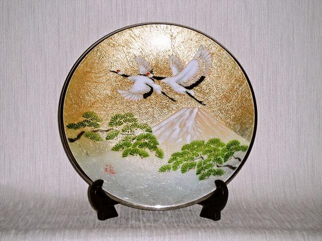 七宝焼 飾皿 9丸松に鶴