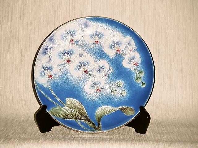 七宝焼 飾皿 10丸胡蝶蘭