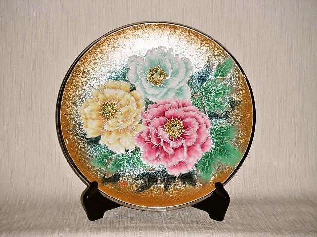 七宝焼 飾皿 12丸金地牡丹