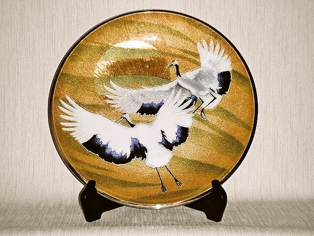 七宝焼 飾皿 12丸旭日鶴