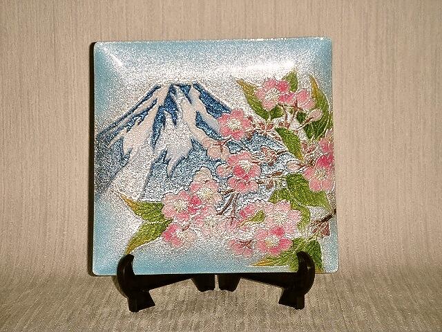 七宝焼 飾皿 6×6富士桜
