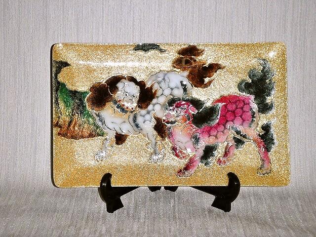 七宝焼 飾皿 5×8唐獅子