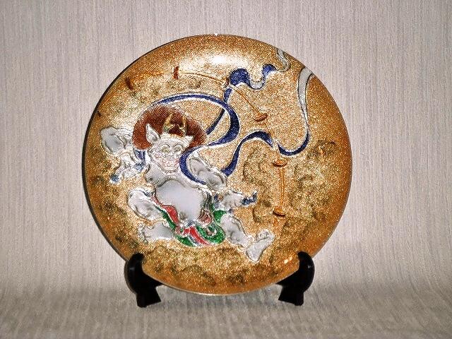 七宝焼 飾皿 7丸雷神