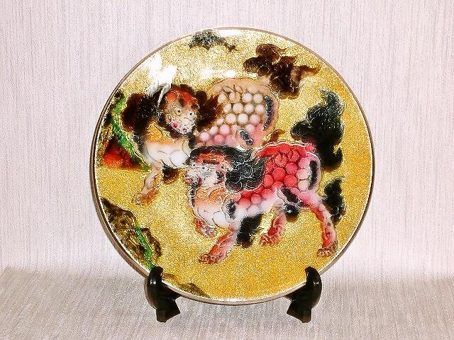 七宝焼 飾皿 8丸唐獅子