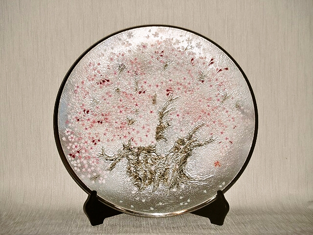 七宝焼 飾皿 15丸桜