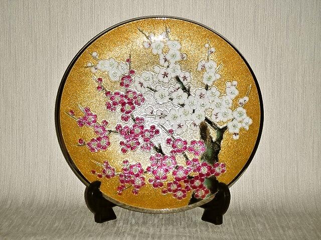 七宝焼 飾皿 9丸紅白梅