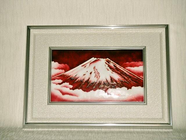 七宝焼 額 有線赤富士