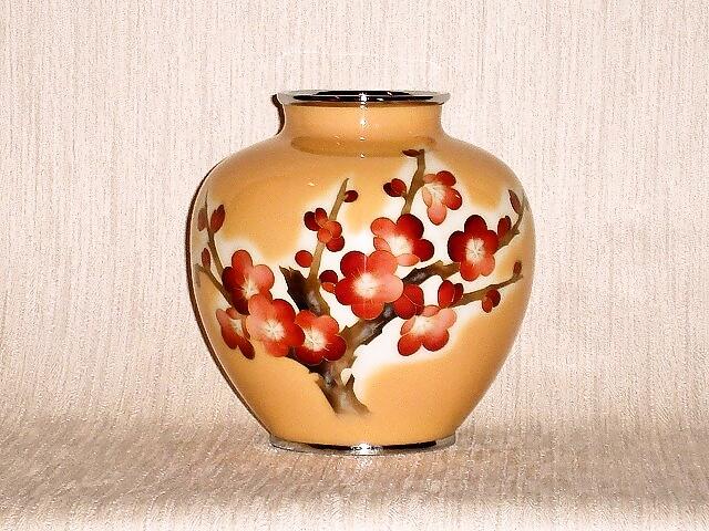 七宝焼 花瓶 5玉梅