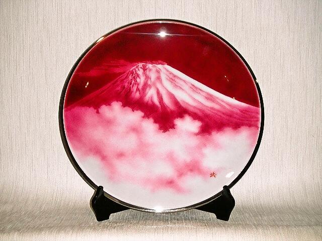 七宝焼 飾皿 15丸赤富士