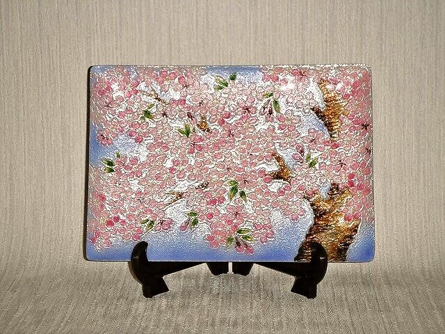 七宝焼 飾皿 5×7桜