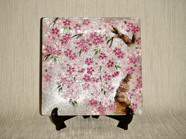 七宝焼 飾皿 6×6桜