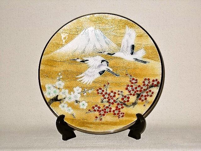 七宝焼 飾皿 9丸 梅に富士鶴
