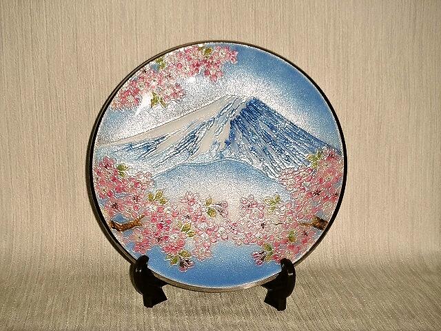 七宝焼 飾皿 8丸 富士桜