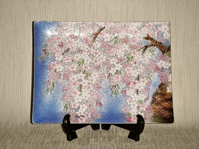 七宝焼 飾皿 7×9 しだれ桜